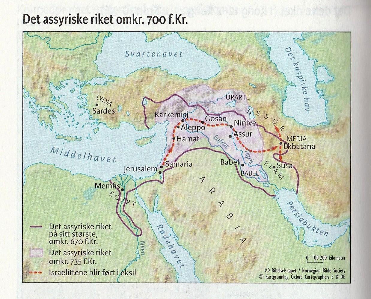 Det assyriske riket omkr. 700 f.Kr.