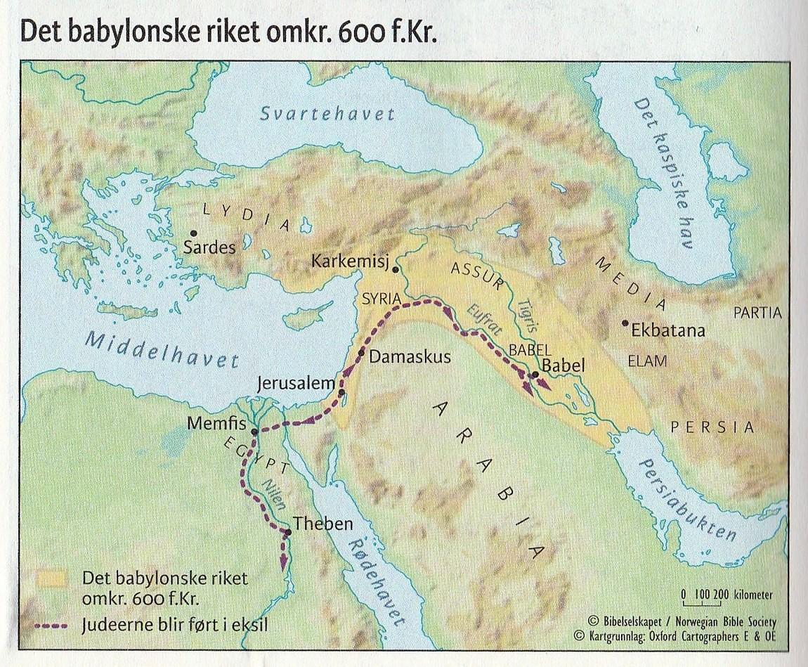 Det babylonske riket omkr. 600 f.Kr.