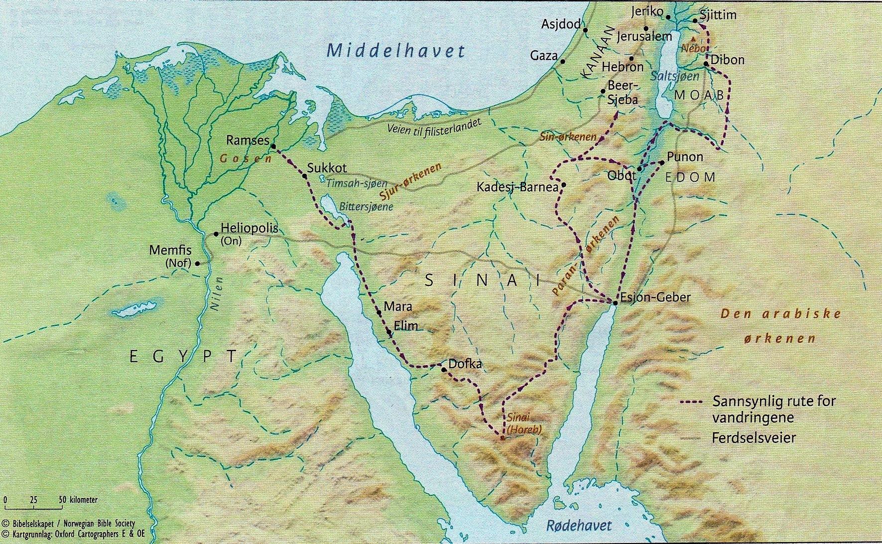 Utvandringen fra Egypt og ørkenvandringen  2-5 Mos